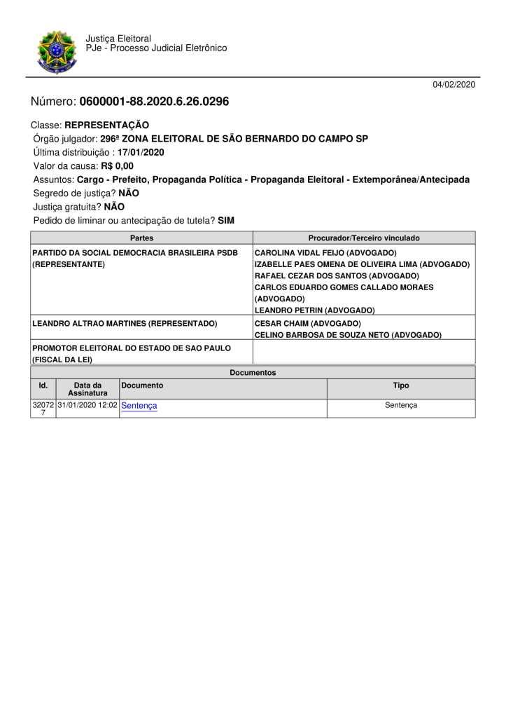 Sentença - Diretório PSDB - SBC x Leandro Altrao Martines-1