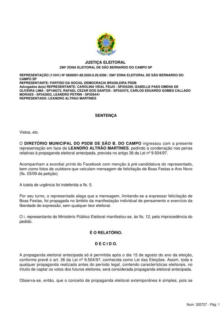 Sentença - Diretório PSDB - SBC x Leandro Altrao Martines-2